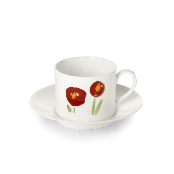 Impression (Red Poppy) - SET - Saucer & Coffee Cup 8.5 fl oz | 0.25L | Dibbern | JANGEORGe Interior Design
