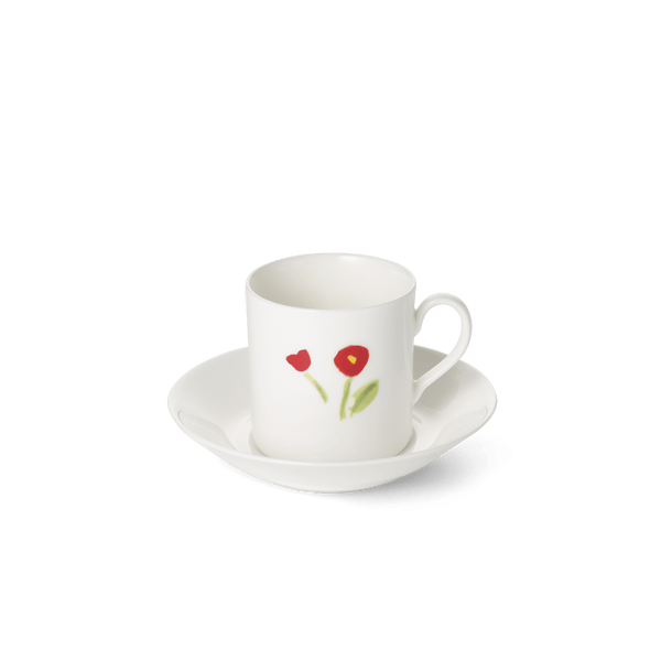 Impression (Red Flower) - SET - Saucer & Espresso Cup 3.4 fl oz | 0.10L | Dibbern | JANGEORGe Interior Design