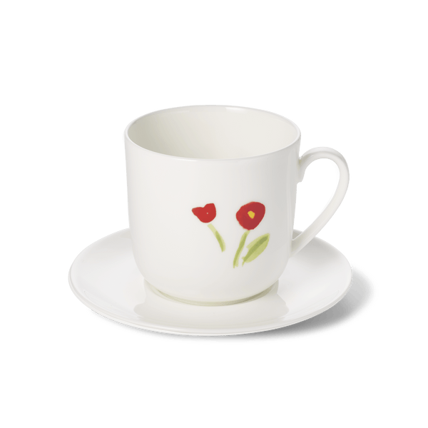 Impression (Red Flower) - SET - Saucer & Mug 10.8 fl oz | 0.32L | Dibbern | JANGEORGe Interior Design