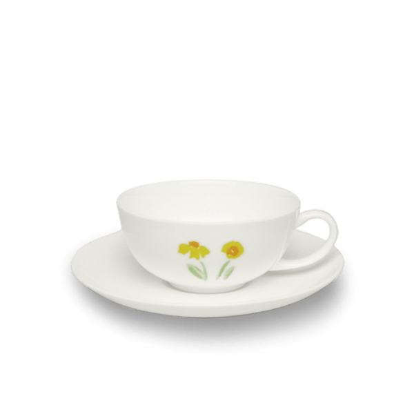 Impression (Yellow Flower) - SET - Saucer & Tea Cup 6.8 fl oz | 0.2L | Dibbern | JANGEORGe Interior Design