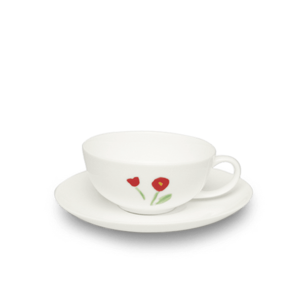 Impression (Red Flower) - SET - Saucer & Tea Cup 6.8 fl oz | 0.2L | Dibbern | JANGEORGe Interior Design