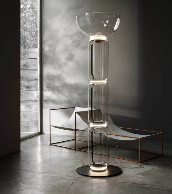 Noctambule Floor Lamp, LED Dimmable, 3 High Cylinders with Bowl and Large Base - JANGEORGe Interior Design - Flos