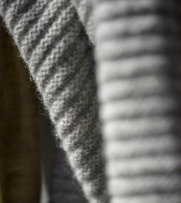 Yak Down Solid Platinum Ribbed Knit Throw | Hangai | JANGEORGe Interior Design