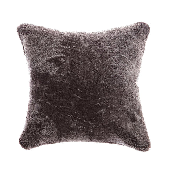 Shearling Charcoal Square Pillow | Homelosophy | JANGEORGe Interior Design
