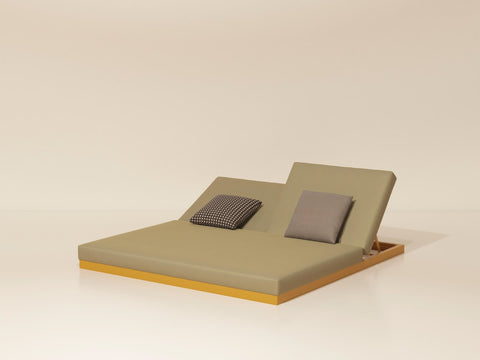 Landscape lounger double with 5-position backrest seat/back cushion (946147)