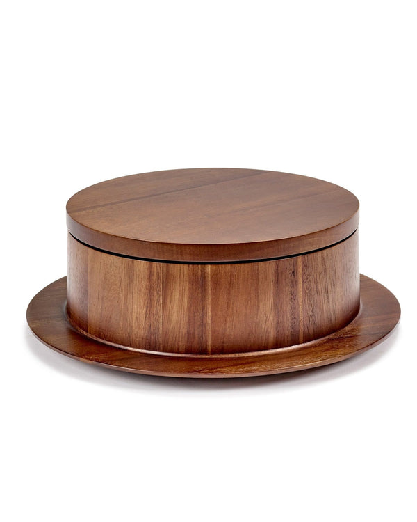 Dishes to Dishes Bowl with Attached Plate in Acacia Wood | Valerie Objects | JANGEORGe Interior Design