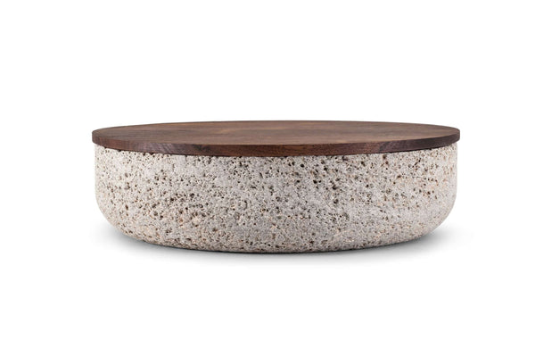 VVD - Natural Stone Pottery with 1cm Walnut Lid by When Objects Work | JANGEORGe Interior Design
