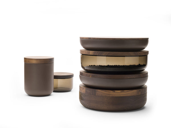 VVD Pottery - Ceramic 15x17cm with 2cm Walnut Lid (15172) by When Objects Work | JANGEORGe Interior Design