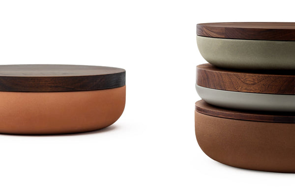 VVD Pottery - Ceramic 30x2cm with 3cm Walnut Lid (3023) by When Objects Work | JANGEORGe Interior Design