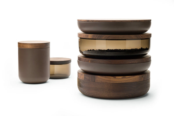 VVD Pottery - Ceramic 30x5cm with 1cm Walnut Lid (3051) by When Objects Work | JANGEORGe Interior Design
