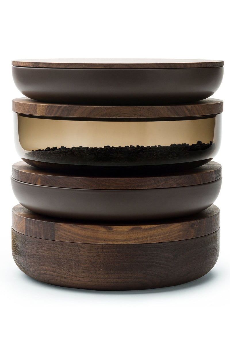 VVD Pottery Ceramic 30x5cm with 1cm Walnut Lid (3051) | When Objects Work | JANGEORGe Interior Design