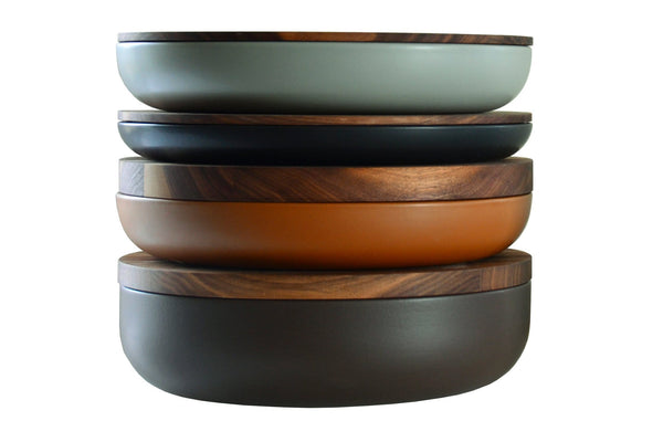 VVD Pottery - Ceramic 30x7cm with 2cm Walnut lid (3072) by When Objects Work | JANGEORGe Interior Design