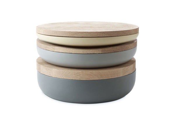 VVD Pottery - Ceramic 30x2cm with 2cm Oak Lid (3022) by When Objects Work | JANGEORGe Interior Design