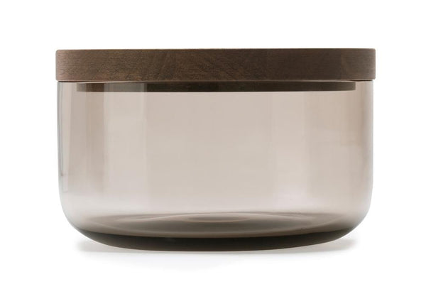 VVD Pottery - Glass 15x7cm with 2cm Walnut Lid (1572) by When Objects Work | JANGEORGe Interior Design