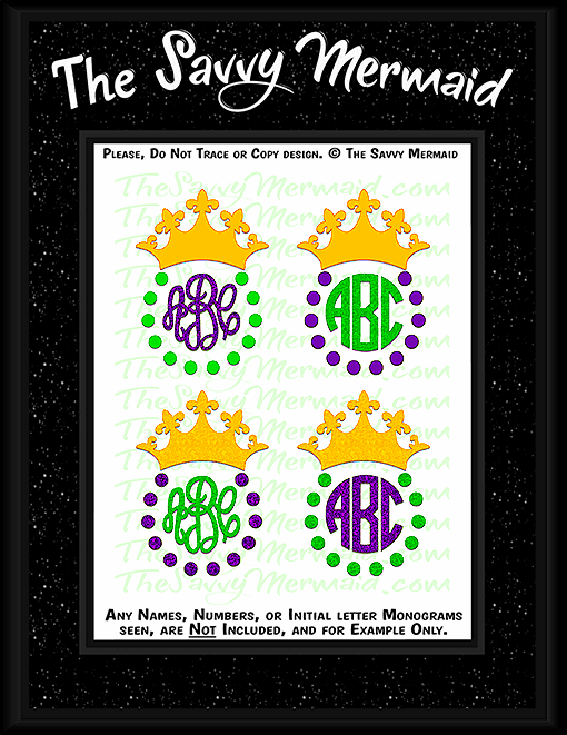 Mardi Gras Crown Monogram Frame set - The Savvy Mermaid