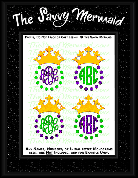 Mardi Gras Crown Monogram Frame set
