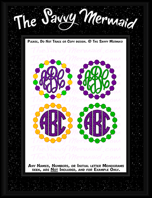 Mardi Gras Beads Monogram Frame - The Savvy Mermaid