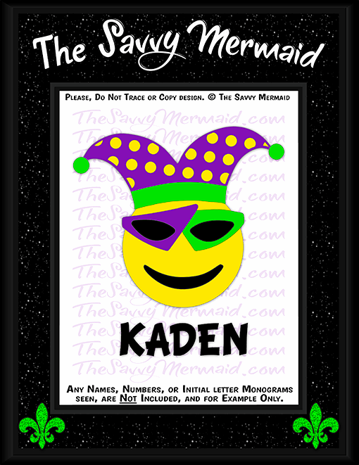 Mardi Gras Emoji w/ Sunglasses - The Savvy Mermaid