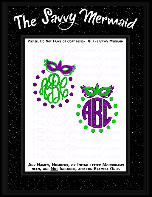 Mardi Gras Mask Monogram frame - The Savvy Mermaid