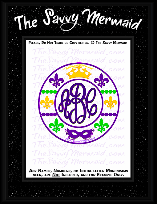 Mardi Gras Patterned Tribal Monogram - The Savvy Mermaid