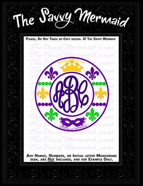 Mardi Gras Patterned Tribal Monogram