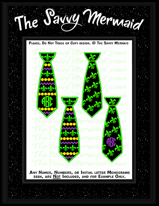 Mardi Gras Neck Ties - Set of 4 - The Savvy Mermaid