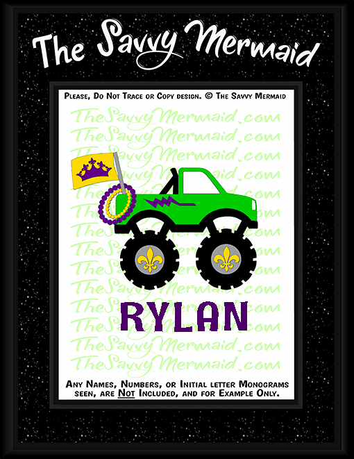Mardi Gras Monster Truck - Flag and Beads - The Savvy Mermaid