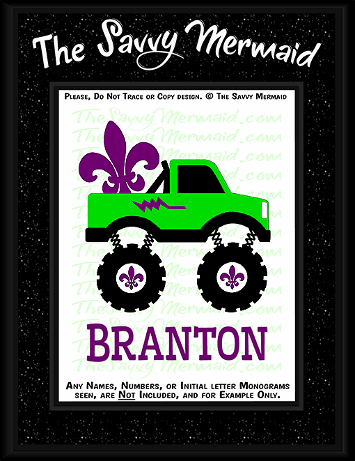 Mardi Gras Fleur De Lis Monster Truck - The Savvy Mermaid