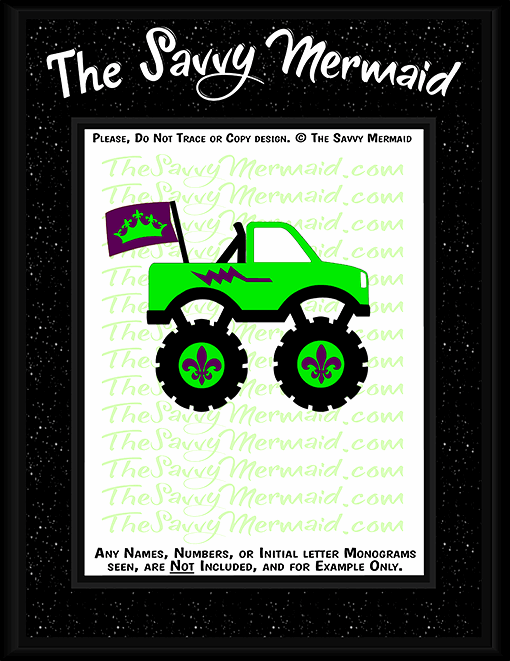 Mardi Gras Monster Truck w/ Flag - The Savvy Mermaid