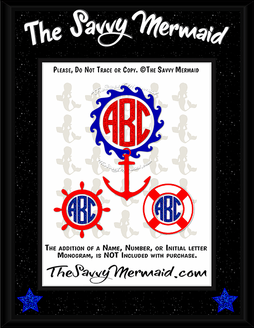Nautical Monogram frame set - Blue