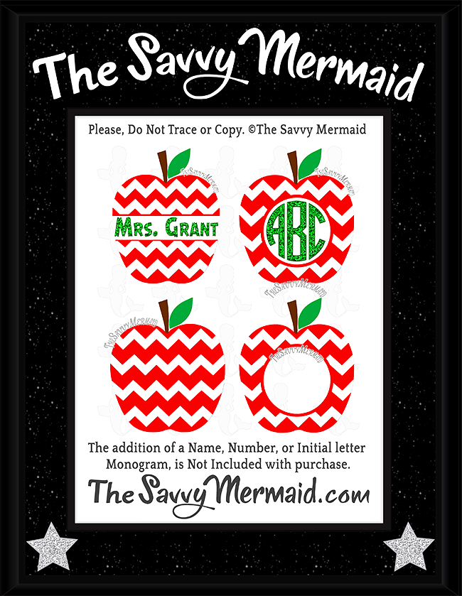 Chevron Apple Monogram Split & Whole Set
