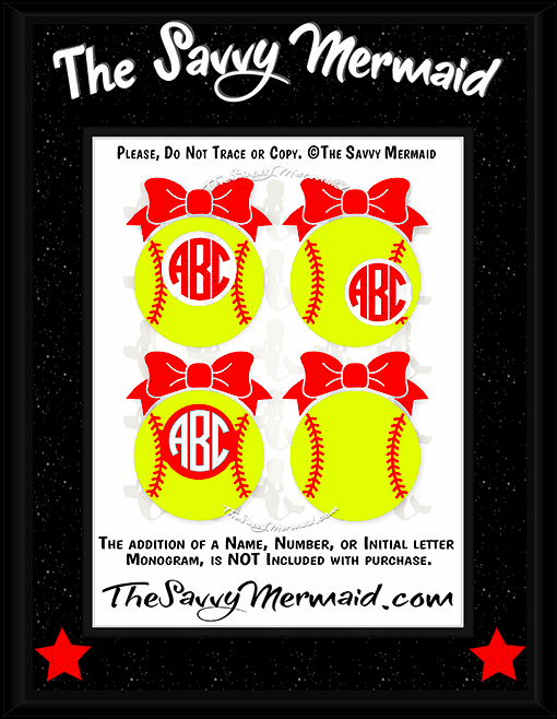 Softball Bow Monogram frames
