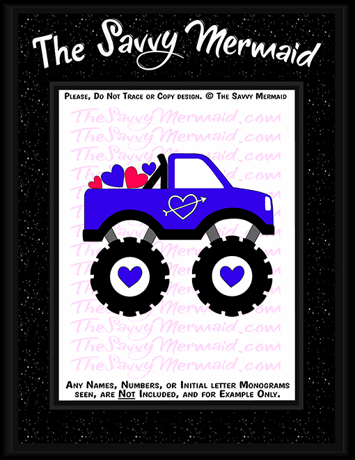 Valentine S Day Monster Truck Svg Dxf Png Vinyl Htv Shirt Cut