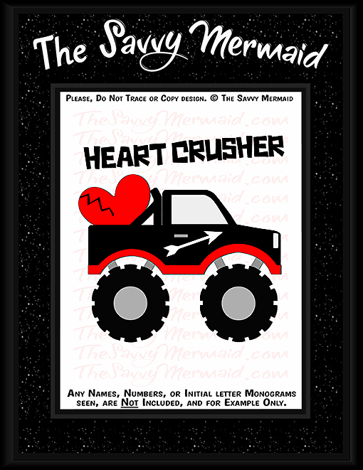 Valentine's Day Heart Crusher Monster Truck - The Savvy Mermaid