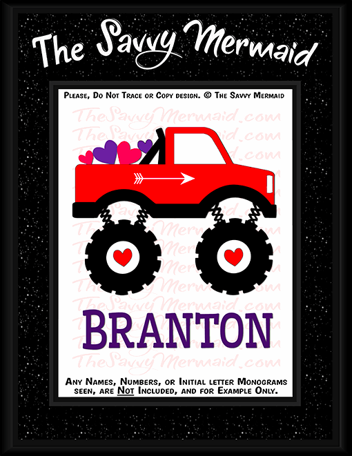 Valentine's Day Monster Truck with Hearts - The Savvy Mermaid