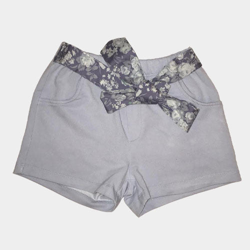 Blue Shorts with Attached Floral belt