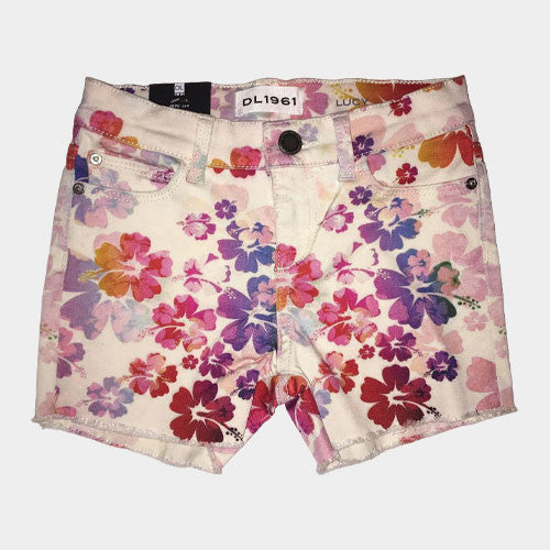 DL 1961 Flower Print Fringe Shorts
