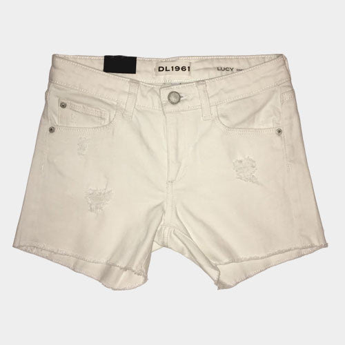DL 1961 White distressed Denim Short