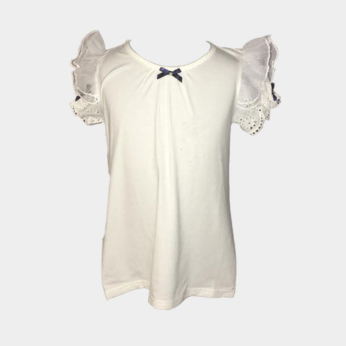 Short Sleeve Ruffle Tee (White)