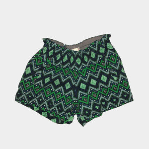 Blue/Green Pattern Shorts w/Cuff
