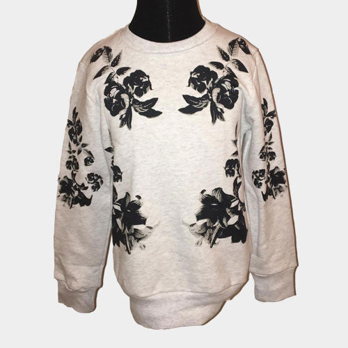 Grey and Navy Floral Crewneck