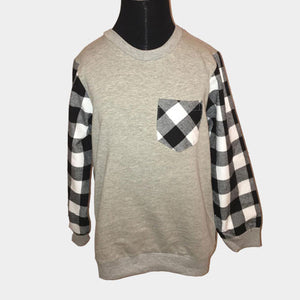 Flannel Check Sleeve Crewneck