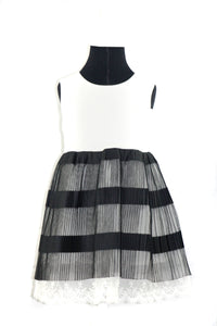 White and Black Dress with tulle overlay