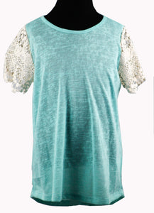 Burnout Tee with crochet sleeves