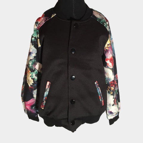 Floral Sleeve Baseball Jacket