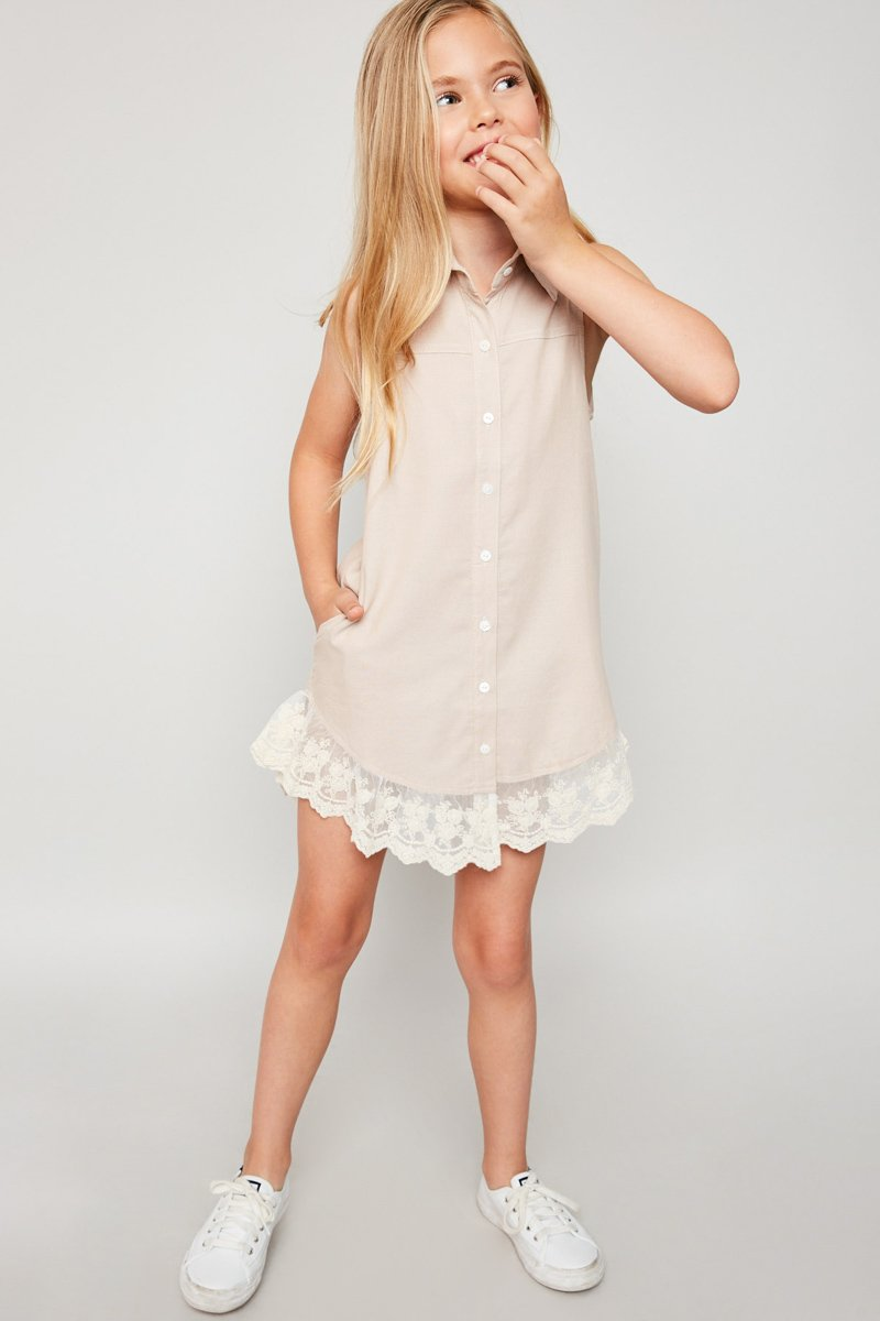Latte Collered Shirt Dress