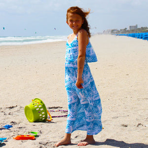 Blue Tropical Print Maxi Dress