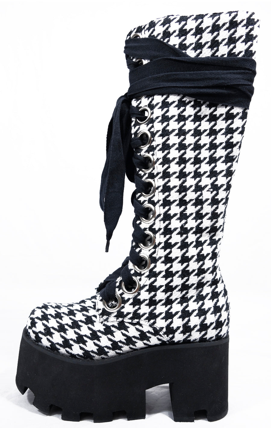 Houndstooth Knee High Boot