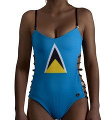 St Lucia Caribbean women's reversible swimsuit
