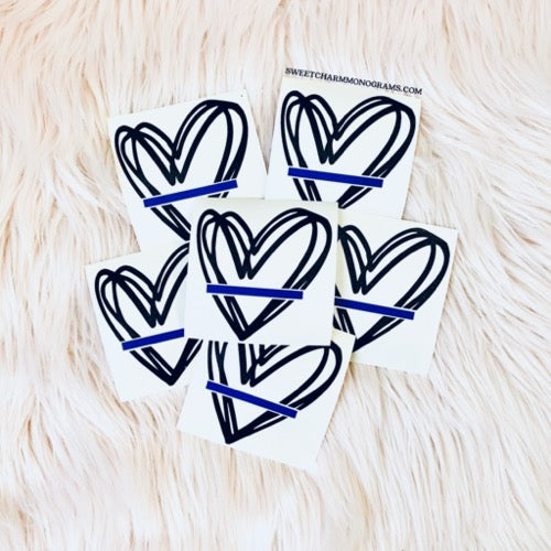 Heart Thin Blue Line Decal